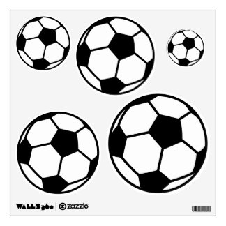 Soccer ball wall decals for sports theme bedroom