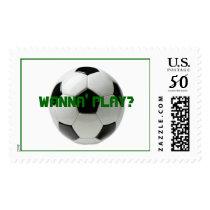 soccer ball, WANNA' PLAY? Postage