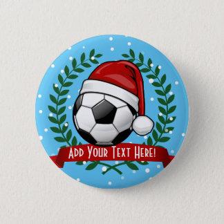 Soccer Ball Wearing a Santa Hat Christmas Button