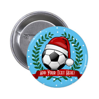 Soccer Ball Wearing a Santa Hat Christmas Button