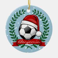 Soccer Ball Wearing a Santa Hat Christmas Ceramic Ornament