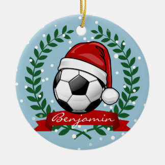 Soccer Ball Wearing a Santa Hat Christmas Ceramic Ornament