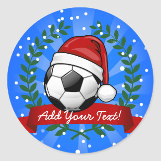 Soccer Ball Wearing a Santa Hat Christmas Classic Round Sticker