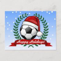 Soccer Ball Wearing a Santa Hat Christmas Holiday Postcard