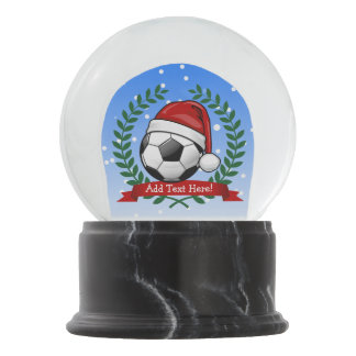 Soccer Ball Wearing a Santa Hat Christmas Snow Globe