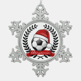 Soccer Ball Wearing a Santa Hat Christmas Snowflake Pewter Christmas Ornament
