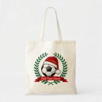 Soccer Ball Wearing a Santa Hat Christmas Tote Bag