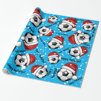 Soccer Ball Wearing a Santa Hat Christmas Wrapping Paper