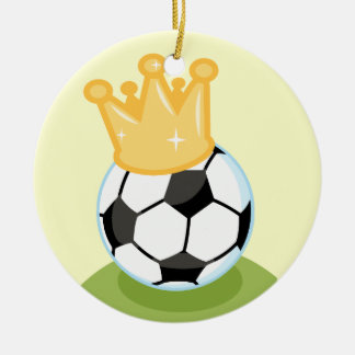 Soccer Ball Wearing Crown T-shirts and Gifts Double-Sided Ceramic Round Christmas Ornament