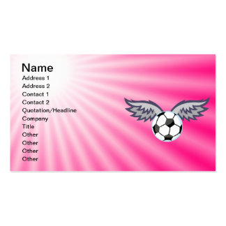 Soccer Ball Wings; Pink Double-Sided Standard Business Cards (Pack Of 100)