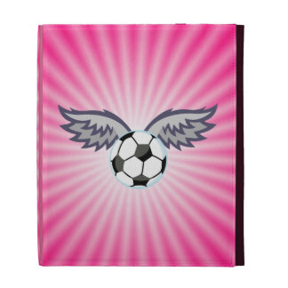 Soccer Ball Wings; Pink iPad Folio Cover