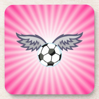 Soccer Ball Wings; Pink Beverage Coasters