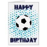 Soccer Ball with blue colours, Happy Birthday Stationery Note Card