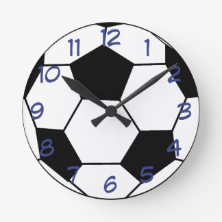 Soccer Ball with Blue Wall Clock