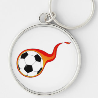 Soccer Ball with Flames Keychain