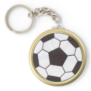 Soccer ball with gold trim keychain