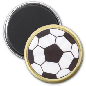 Soccer ball with gold trim magnet
