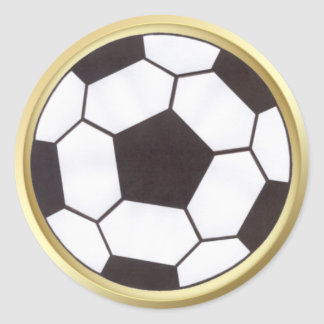 Soccer ball with gold trim sticker