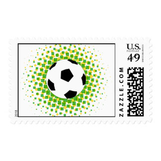 Soccer ball with green and Yellow team colours Postage Stamps