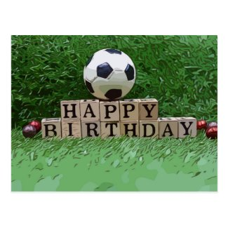 Soccer ball with Happy Birthday word on green  Car Postcard