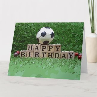 Soccer ball with Happy Birthday word on green  Card