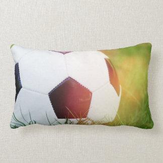 Soccer Ball with Lens Flare Lumbar Pillow