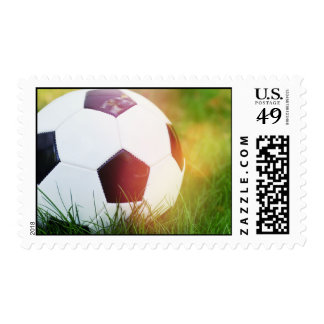 Soccer Ball with Lens Flare Postage