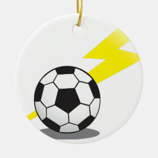 Soccer ball with lightning bolt Double-Sided ceramic round christmas ornament