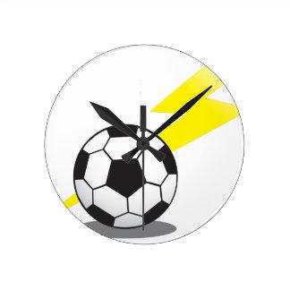 Soccer ball with lightning bolt round clock