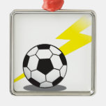 Soccer ball with lightning bolt square metal christmas ornament