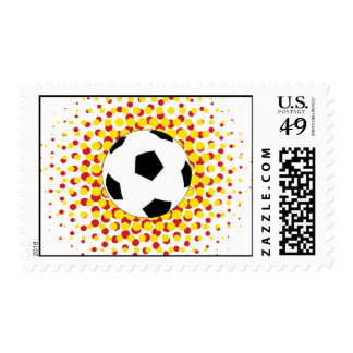 Soccer Ball with red and yellow Stamps