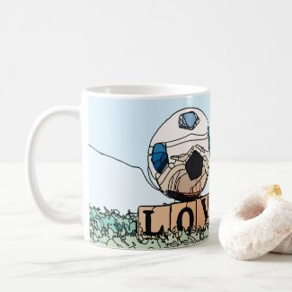 Soccer ball with red heart graphic  coffee mug