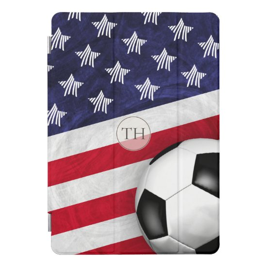 Soccer ball with United States flag monogrammed iPad Pro Cover