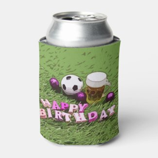 Soccer ball with word Happy Birthday and beer  Can Cooler