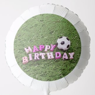 Soccer ball with word Happy Birthday on green   Balloon