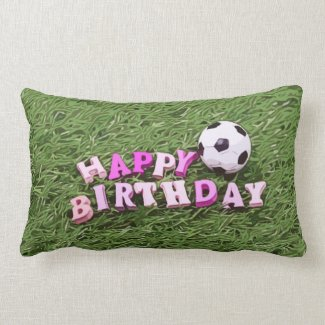 Soccer ball with word Happy Birthday on green  Lumbar Pillow