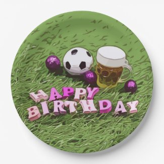 Soccer ball with word Happy Birthday on green   Paper Plate
