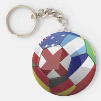 Soccer Ball World flags Keychain
