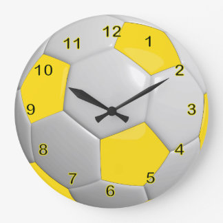 Soccer Ball | Yellow Large Clock