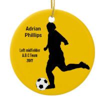 Soccer ball yellow ornament