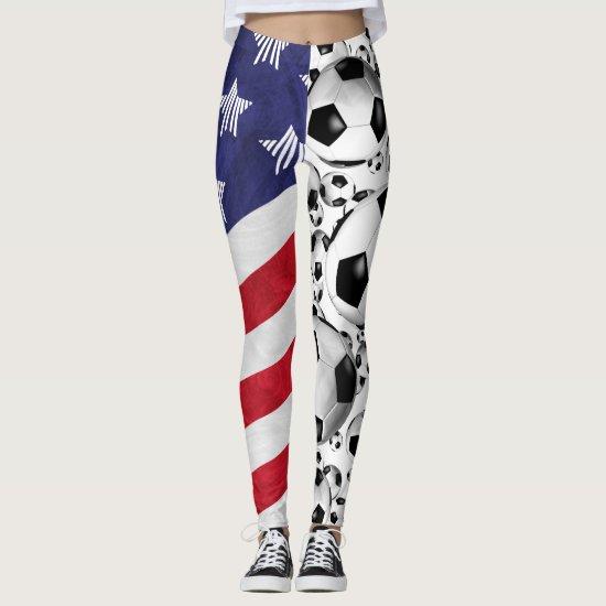 soccer balls and American flag sporty patriotic Leggings