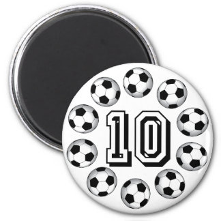 SOCCER BALLS AND NUMBER 10 2 INCH ROUND MAGNET
