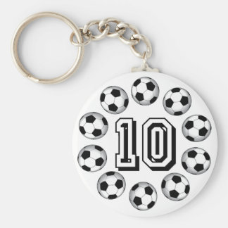 SOCCER BALLS AND NUMBER 10 BASIC ROUND BUTTON KEYCHAIN