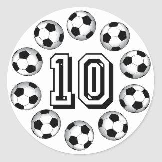 SOCCER BALLS AND NUMBER 10 CLASSIC ROUND STICKER