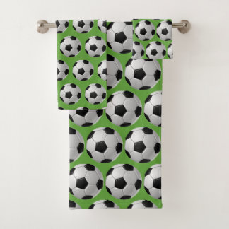 Soccer Balls Design Bath Towel Set