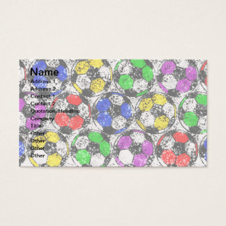 SOCCER BALLS IN CHAOTIC COLOR BUSINESS CARD