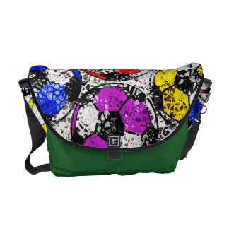 SOCCER BALLS IN CHAOTIC COLOR COURIER BAG