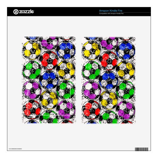 SOCCER BALLS IN CHAOTIC COLOR KINDLE FIRE DECALS