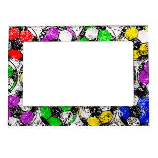 SOCCER BALLS IN CHAOTIC COLOR MAGNETIC PHOTO FRAME
