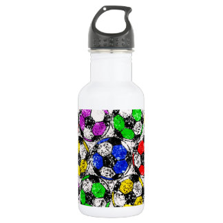 SOCCER BALLS IN CHAOTIC COLOR 18OZ WATER BOTTLE